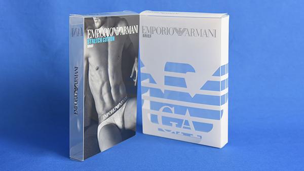 阿玛尼合作万利服饰透明包装胶盒案例1